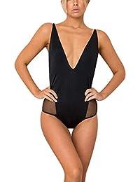Mymyguoe Rückenfrei Damen Badeanzug Push Up Monokini Retro Einfarbig Tiefer  V-Ausschnitt Bikini Einteiler Schlankheits Solide… 35c79b50c0