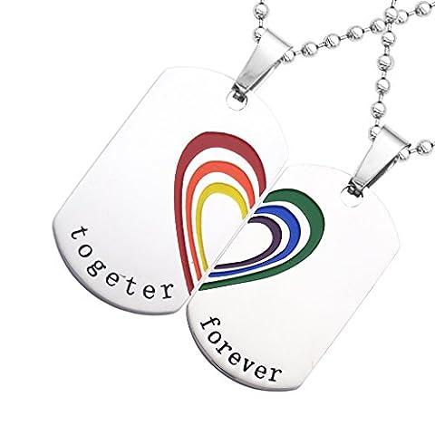 Gazechimp 2pcs Pendentif Collier Rainbow Acier Inox Dog Tag Cœur LGBT Lesbien Gay Pride Bijoux