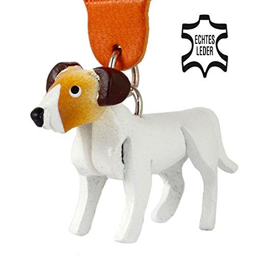 Monkimau Jack Russell Terrier Jacky - Hunde Schlüsselanhänger aus Leder weiß braun - Dein Bester Freund. Immer dabei! - 5x2x4cm LxBxH klein, jeweils 1 Stück (Weiß mit Buntem Kopf)