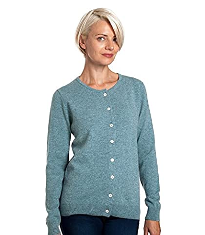 WoolOvers Ladies Cashmere and Merino Luxurious Crew Neck Knitted Cardigan Kingfisher, L
