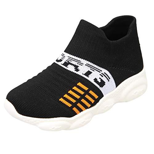 AIni Baby Schuhe Mode Beiläufiges 2019 Neuer Kinder atmungsaktiv gewebte Socken Sport im Freien Lässig Laufschuhe Turnschuhe Krabbelschuhe Kleinkinder Schuhe Lauflernschuhe(27,Schwarz)