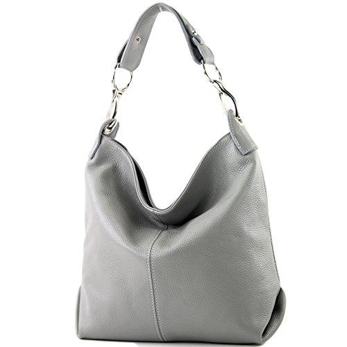 ital Schulter-/Umhängetasche aus Leder, Farbe:Grau ()