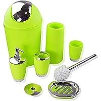 WSS 6 Piezas Accesorio de Baño Vaso portacepillo de dientes Papelera JABONERO Dispensador Verde