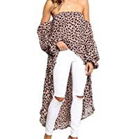 GRMO Womens Long Sleeve Irregular Hem Off The Shoulder Leopard T Shirt Blouse Tops Brown US M