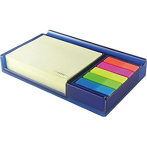 Exerz EX309 O-Life Sostenedor de Notas – Equipado con 200 x Notas Adhesivas, 5 x Conjunto de Tiras de Índice de colores (Azul)