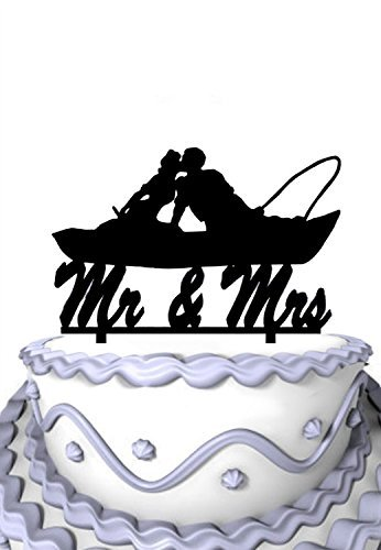 aar im Boot Kissing Script Herr und Frau Wedding Cake Topper (Herr Und Frau Wedding Cake Topper)