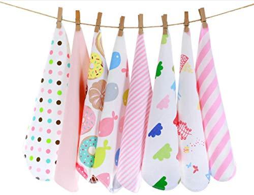 CuteOn Pacchetto di 8 Super Morbido Bambino Washcloth Feeding Wipe Stoffa per Neonato Ragazzi & Ragazze Rosa Gatto