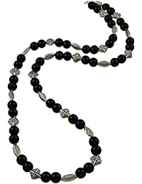 High Trendz Hand Crafted Oxidised German Silver With Black Glass Beads Long Fussion Chain/Necklace For Women And...