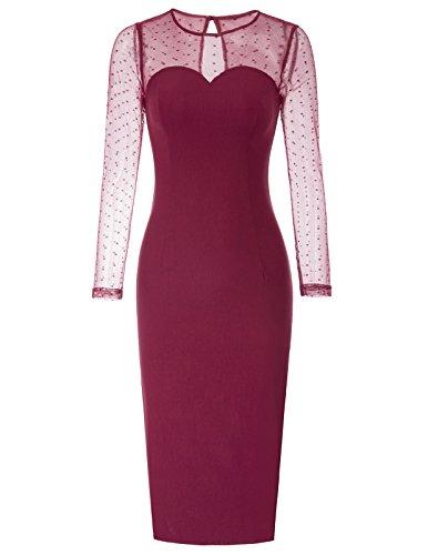 Belle Poque Blumenkleid Rockabilly Kleid Hochzeitskleid Pencil Kleider für Damen BP720-2 S