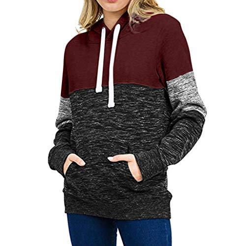 GOKOMO Sweatshirt Damen Hooded Oversized Hoodie Pullover Herbst Winter Kapuzenpullover Streifen Winterpullover Langarm Jacke Mit Kapuze Mantel Tops(Wein-a,Medium)