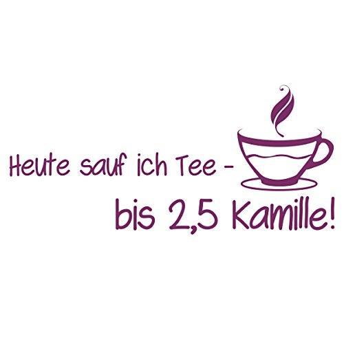 WANDKINGS Wandtattoo – Heut sauf ich Tee – bis 2,5 Kamille (mit Teetasse) – Wähle aus 5 Größen & 35 Farben
