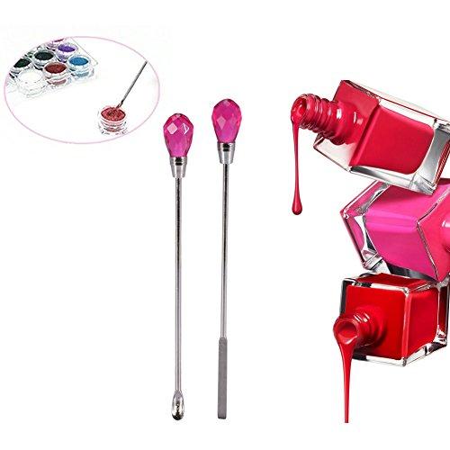 Nail Art Cuillère Spatule Mélanger Paillettes Gel Poudre 2 pcs en Acrylique Stick Manucure Accessoires (Rouge)