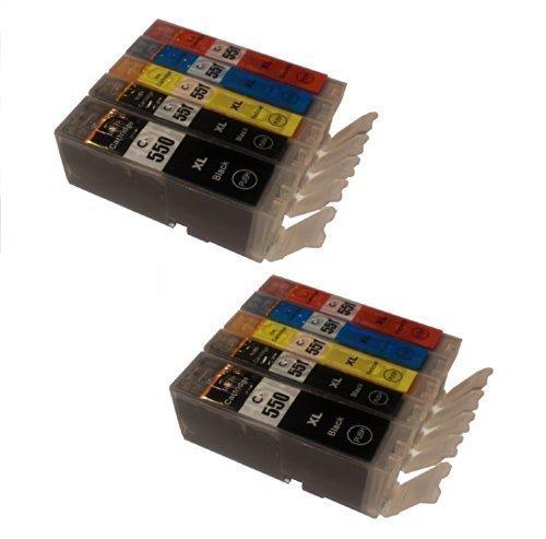 Preisvergleich Produktbild 10 XL Tintenpatronen mit Chip für Canon mit FREIE FARBAUSWAHL IP 7200 Serie iP7250 ip8700 Serie iP8750 MG5400 Serie MG5450 MG 5500 Serie MG5550 MG5600 Serie MG5650 MG6300 Serie MG6350 MG6400 Serie MG6450 MG6600 Serie MG6650 MG7100 Serie MG7150 MG7550 iX6850 MX725 MX925 ersetzt PGI-550XL und CLI-551XL Pixma Serie mit Chip