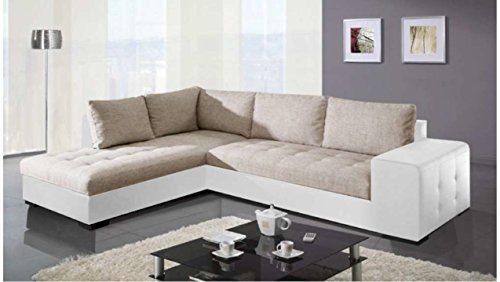 Justhome paris divano angolare divano letto finta pelle in tessuto (lxlxa): 212x282x88 cm bianco beige penisola a sinistra