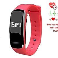 Pressione sanguigna bracciale Fitness Tracker–homestec S4Smart Watch con cardiofrequenzimetro spo2h sonno gestione pedometro con OLED (Mantenere Pressione Sanguigna)