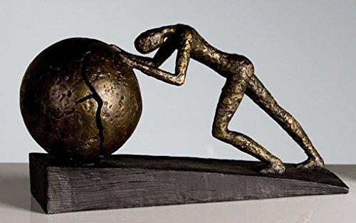 Exklusive Skulptur HEAVY BALL aus Poly Bronzefinish, Schwarzer Base, Höhe 21,5 cm Länge 37 cm