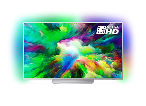 Philips 49PUS7803/12 49-Inch 4K Ultra HD Android Smart TV with HDR Plus and 3-sided Ambilight - Light Silver (2018 Model)