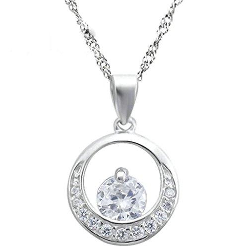 Gnzoe Schmuck Damen Halskette 925 Sterling Silber Kreis Rund Kristall Form Anhänger Damenkette Brautschmuck Kette Weiß Größe 1.4x1.6 CM mit Zirkonia
