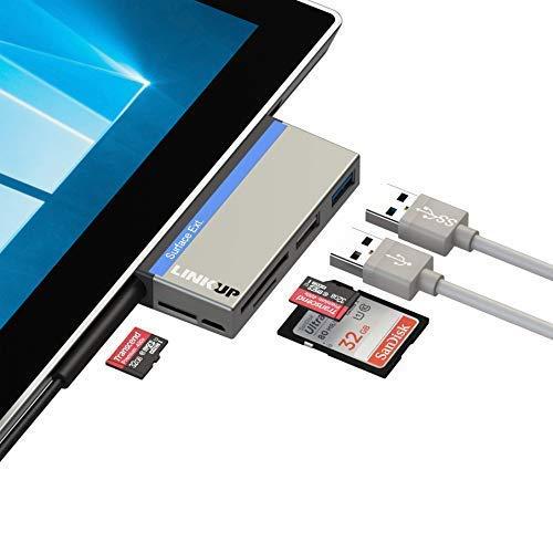 "LINKUP USB Memory Card Reader SD/Micro SD Card Slots 2 USB 3.0 Hub Card Reader Combo Adapter Compatible with Microsoft Surface Pro 3(12.3\"")/Pro 4/Pro"