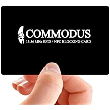 RFID Blocking Card Protector COMMODUS. Protects credit cards, debit & ATM cards, passports, driver's licenses & other NFC/RFID-enabled contactless Smart Cards, [ 1 PACK
