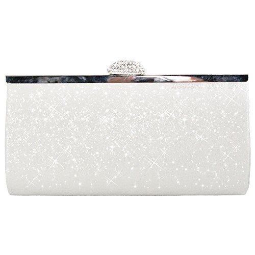 fc43cb6ad0 Wocharm Fashion Womens Glitter Clutch Bag Sparkly Silver Gold Black Evening  Bridal Prom Party Handbag Purse (White) - Buy Online in Oman.