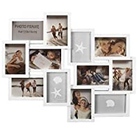 Eurotrade W Ltd White, New Large Embossed Wall Hanging Photo Frame Collage 12 Multi Picture Holder Aperture KF100099