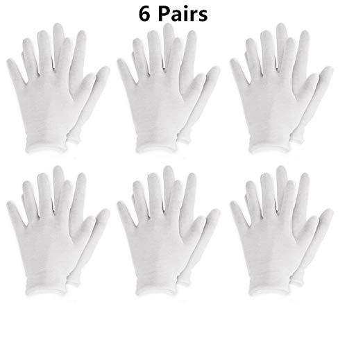 Spa-uniformen (GBSTA Weiße Handschuhe Wiederverwendbare weiße Baumwollhandschuhe Dünne elastische weiche Handschuhe für trockene Hände Feuchtigkeitsspendende kosmetische Ekzeme Hand Spa Münze Schmuckinspektion,6)