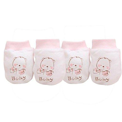 2Paar Baby-Handschuhe Auxma Baby-Kind-Jungen-Mädchen-nette Karikatur Anti Scratch Fäustlinge weiche Handschuhe (Rosa)