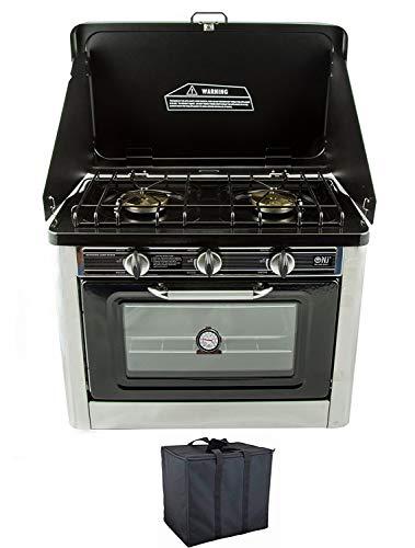 NJ Co-01à gaz portable pour camping au four et plaque 2brûleurs avec housse de transport pour extérieur en acier inoxydable