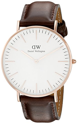 Daniel Wellington Bristol Rose Men's Quartz Watch with White Dial Analogue Display and Dark Brown Leather Strap 0109DW