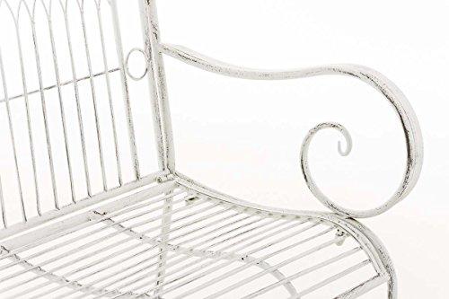 CLP Metall Gartenbank PURUSHA, 2-Sitzer, Landhaus-Stil, Eisen lackiert, Design nostalgisch Antik Weiß - 5