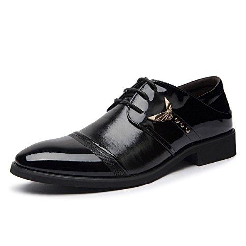 Chaussures Habillées Hommes Cuir Occasionnels Chaussures En Dentelle Chaussures Homme Mode Orteil Chaussures En Cuir Noir