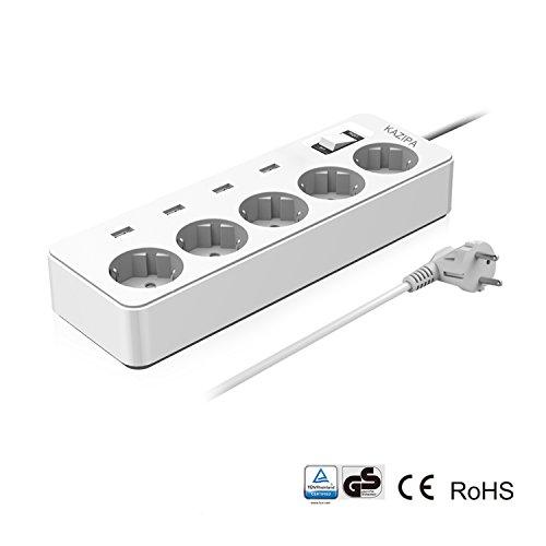 KAZIPA 5 EU-Outlets & 4 USB-Anschluss-Sockel, Überspannungsschutz -Steckdosenleiste mit 1,5 m Kabel (GS zertifiziert)