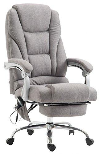 Chefsessel Ocean Chefsessel l Bürostuhl mit Massagefunktion l Stoffbezug l Hellgrau