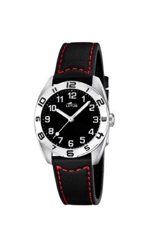 Lotus  0 – Reloj de cuarzo para mujer, con correa de cuero, color negro