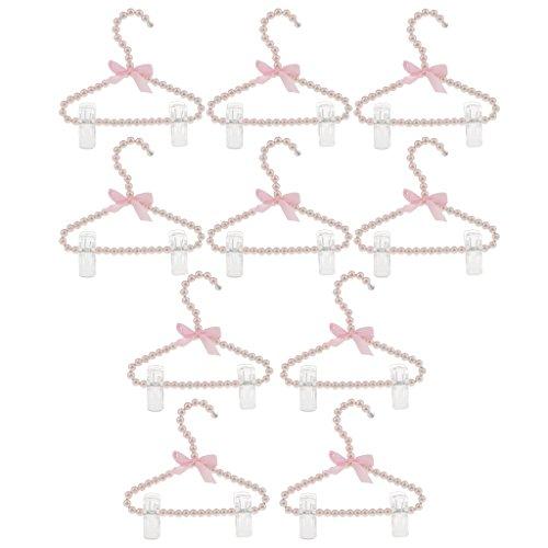 Baoblaze 10 Stück 20cm Perlen Kleiderbügel mit Hosenstange Hosenhalter für Kinder Mädchen, Rosa