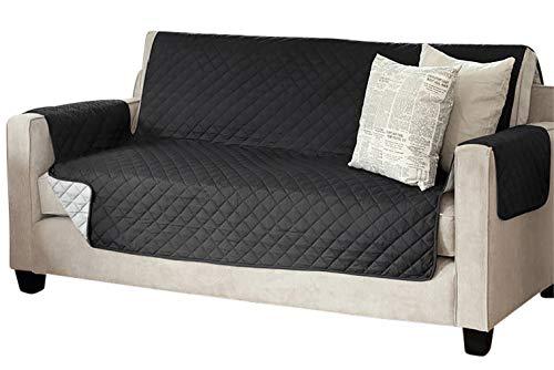 Viva Sesselschoner Sofaschoner Sesselschutz Sofaüberwurf (3-Sitzer 191 x 279 cm, schwarz/anthrazit)