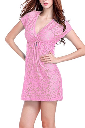 Sexy V-Ausschnitt Lace Mini Strand Kleid Damen Pink
