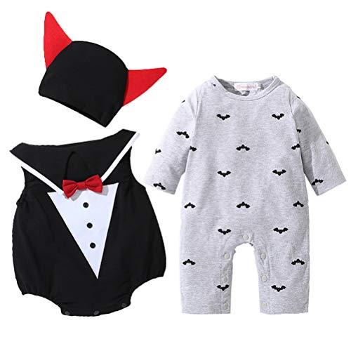 ARAUS Baby Overall Langarm Outfits Set Pumpkin Spielanzug Kürbis Kostüm Strampler Halloween 1-12 Monate (12 Kostüm Monate Superman 18)