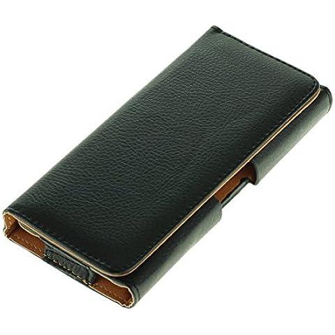 OTB–Funda horizontal/Horizontal Case (piel sintética) para smartphones XXL (5–5,5pulgadas), color negro