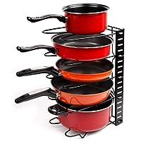 EverEx? Adjustable pan and Pot Rack Holder Stand Plate Dish lid Tray Utensils cookware Cupboard Storage Shelf Shelves Organiser for Kitchen, Black