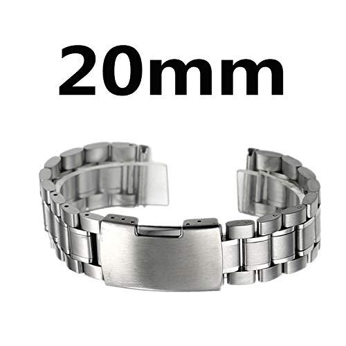 Correa Reloj Acero Inoxidable Zeiger Correa de Reloj Hombre Cinturón Adecuado para Reloj Tradicional Reloj Deportivo Reloj Banda de Reloj de Acero Inoxidable - Argento 20mm