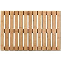 Wenko 23838100 Baderost-Esterilla de bambú para Interior y Exterior para Ducha, baño, Piscina, Sauna con Base Antideslizante, 40 x 60 cm, marrón