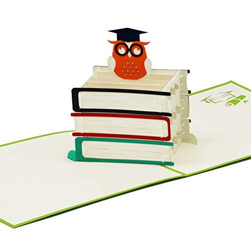 r Abschluss & Prüfung - 3D Pop-Up Prüfungskarte mit schlauer Eule für Aufmunterung Glückwunsch & Gratulation - hochwertige Klappkarte zum Studium Doktor Abitur & Examen ()