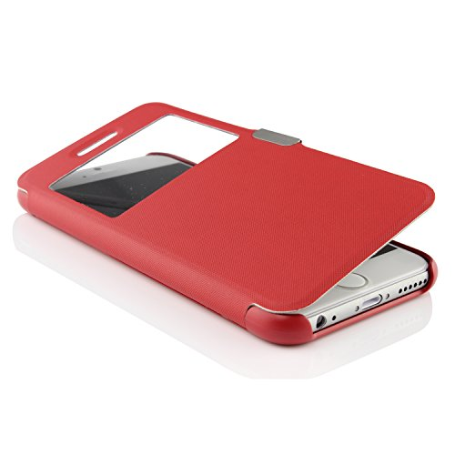 Urcover® View Case Handy Schutz-Hülle | Apple iPhone 6 / 6S | Hart Kunststoff Weiss | Elegant Wallet Cover Sicht-Fenster | leichte Schale dünne Tasche Rot