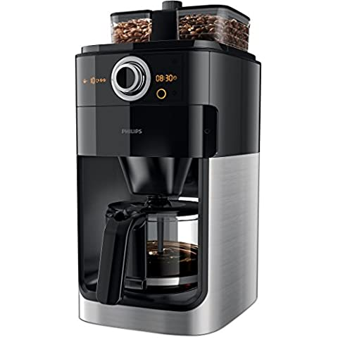 Philips Grind & Brew HD7766 - Cafetera (Independiente, Drip coffee maker, Granos de café, De café molido, Café, Negro, Acero inoxidable, De plástico, Acero inoxidable)