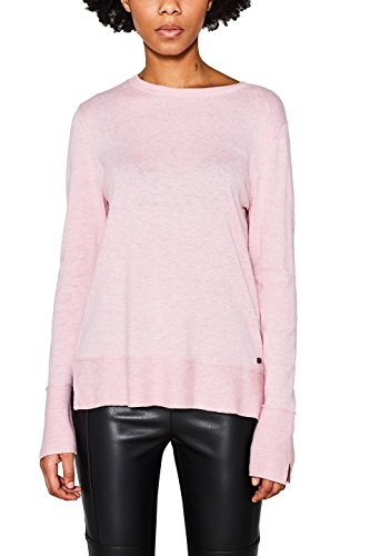 edc by ESPRIT Damen Pullover 127CC1I019, Rosa (Light Pink 690), Small