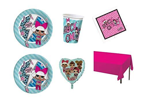 Party Store Web by Hogar Dulce Hogar LOL Surprise Juego de decoración de Fiesta–Kit N ° CDC (16Platos, 16Vasos, 20servilletas ,1Mantel Monocolor, 1balón de Papel de Aluminio Tiffany)