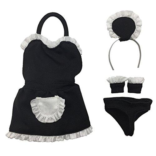 es Hausgehilfin Kleidung Set - Kleid, Slips, Stirnband, Wristlets - Outfit für 12 Zoll Action Figur Zubehör (Weibliche Action Figur Kostüme)