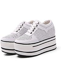 KPHY Verano Hollow Fondo Grueso Mayor En El Interior Zapatos De Mujer 12Cm Super High Heels Transpirable Ocio...